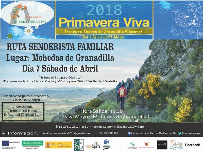 La Primavera Viva celebra este sábado una ruta senderista familiar en Mohedas de Granadilla