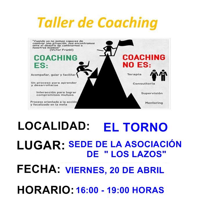 Esta tarde en la sede de Asociación de mujeres 'Los Lazos' de El Torno se celebrará un taller de Coaching