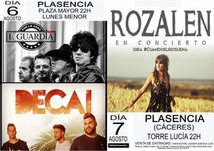 La Guardia, Decai y Rozalén actuarán en Plasencia en el Martes Mayor