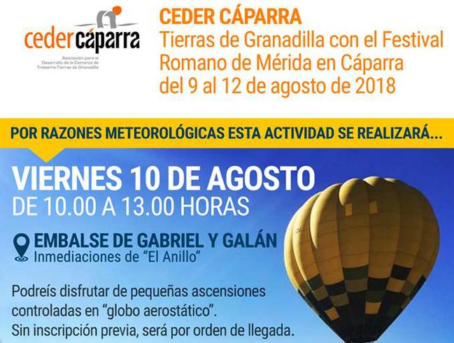 El globo cautivo sobrevolará el pantano de Gabriel y Galán el viernes 10 de agosto
