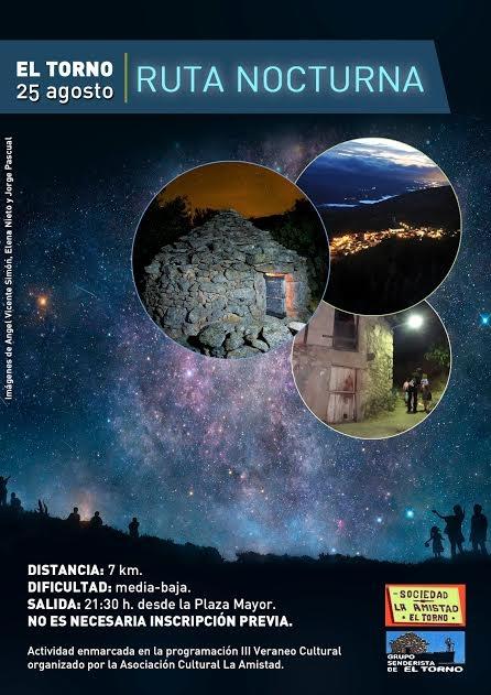Este sábado se celebra en El Torno una ruta senderista nocturna