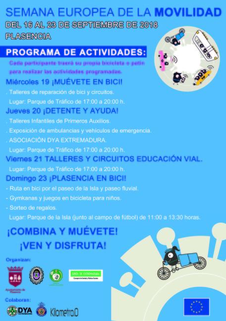 El Ayuntamiento de Plasencia organiza diferentes actividades con motivo de la Semana Europea de la Movilidad del 19 al 23 de Septiembre