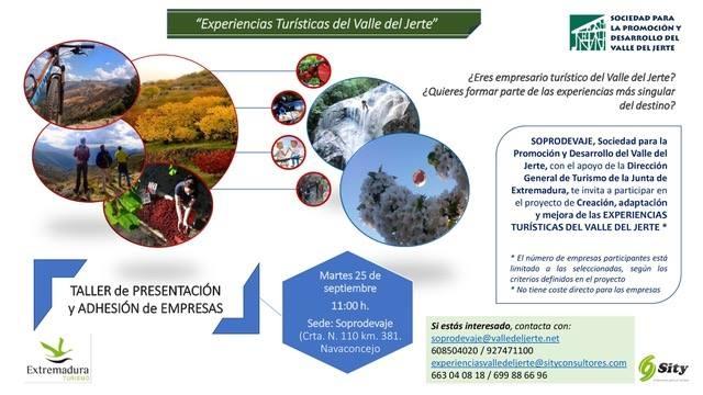 El 25 de septiembre tendrá lugar el Taller de Creación de Experiencias Turísticas del Valle del Jerte