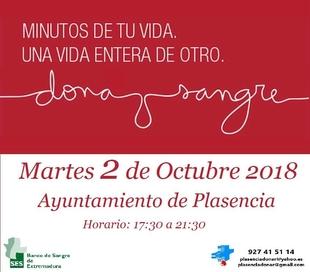 La Hermandad de Donantes de Sangre estará mañana en el Ayuntamiento de Plasencia