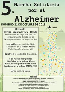AFEAVA organiza una marcha solidaria por el Alzheimer el día 21 de octubre