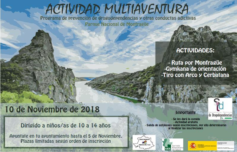 El Programa de Prevención de Conductas Adictivas ha organizado una activad multiaventura en el Parque Nacional de Monfragüe para niños