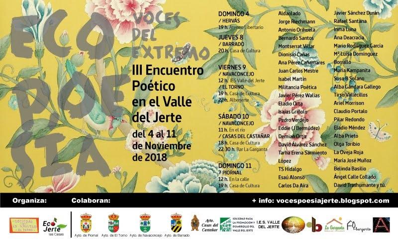El próximo domingo 4 de noviembre dará comienzo el III Encuentro Poético del Valle del Jerte