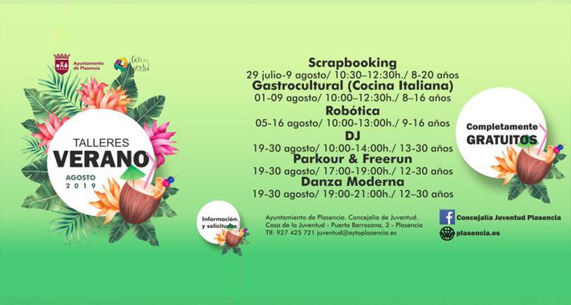 La concejalía de juventud organiza 6 talleres a partir del 29 de julio para niños y jóvenes a partir de los 8 años