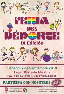 El día 7 de Septiembre se  celebra la IX Edicicón de la Feria del Deporte en la Plaza de Abastos