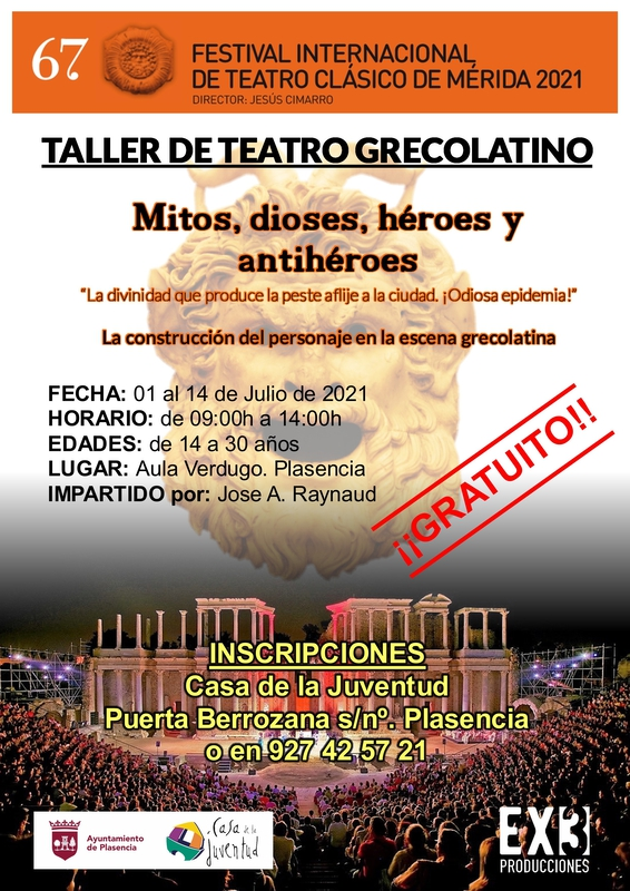 Abierto el plazo de inscripción para el taller de teatro Grecolatino que se desarrollará del 1 al 14 de julio